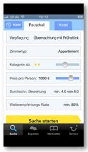 Abb. 2: Auswahl von Such- und Filterfunktionen (TUI)