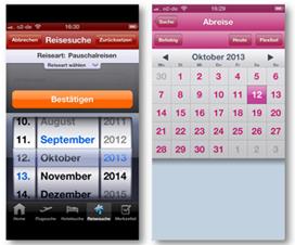 Abb. 4: Eingabe des Reisedatums via Wheel (Opodo) und Kalender (L'TUR)