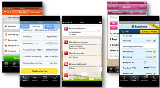 Abb. 5: Platzierung der Such-Buttons unten (weg.de, TUI, Bucher) sowie oben rechts (L'TUR, Expedia)