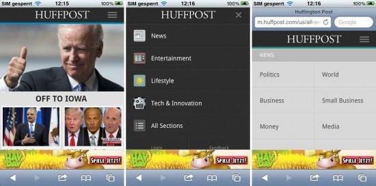 Abb. 3: HuffPost bietet die Optionen der zweiten Ebene ebenfalls auf Abruf an