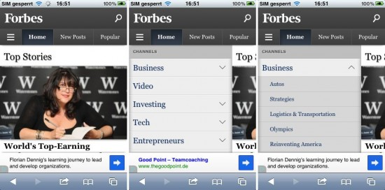 Abb. 4: Bei Forbes klappten die Unterpunkte beim Klick auf einen Oberpunkt aus