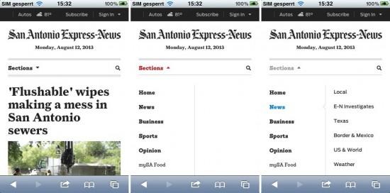 Abb. 5: Die San Antonio Express News stellen ebenfalls die Unterpunkte bei Klick dar, jedoch neben der ersten Ebene