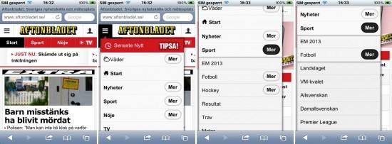 """Abb. 7: Bei Aftonbladet können sowohl die Oberpunkte gewählt werden als auch über """"Mehr"""" die Unterpunkte aufgeklappt werden"""
