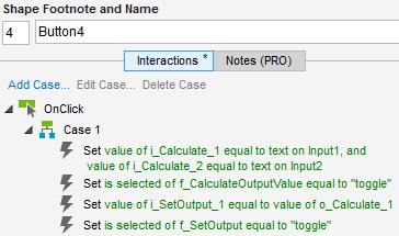"""Abb. 7: Ein Klick auf Button4 ruft die die beiden Funktionen """"f_Calculate"""" und """"f_SetOutput"""" verkettet auf"""