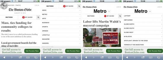 Abb. 9: Die Seite des Boston Globe teilt die Navigation auf mehrere Menüs auf