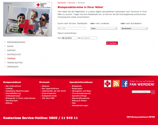 Screenshot Fußteil Blutspendedienst