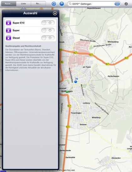 ADAC App iPad Karte