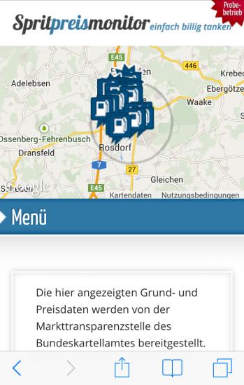 Spritpreismonitor iPhone Karte