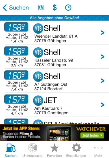 mehr-tanken Liste iOS