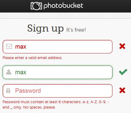 Abb. 4: Kennzeichnung von Fehlern durch Icons und rote Farbgebung bei Photobucket