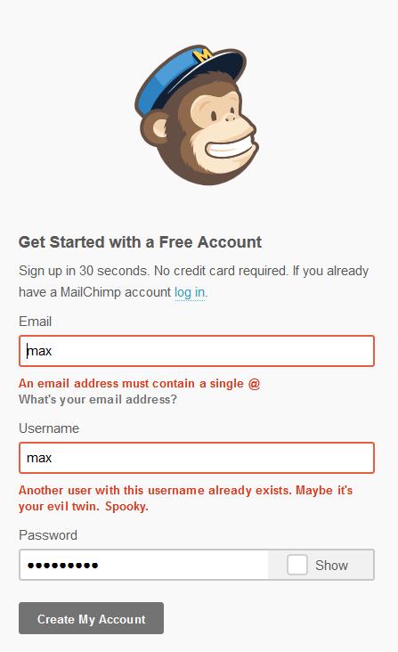 Abb. 7: Scherzhafte Formulierung einer Fehlermeldung bei Mailchimp