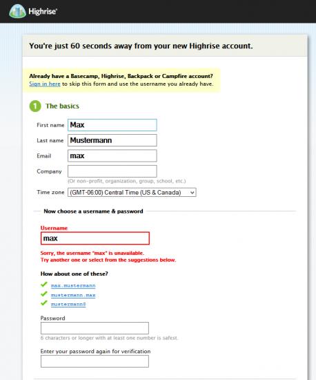 Abb. 9: Vorschläge für alternative Nutzernamen bei Highrise