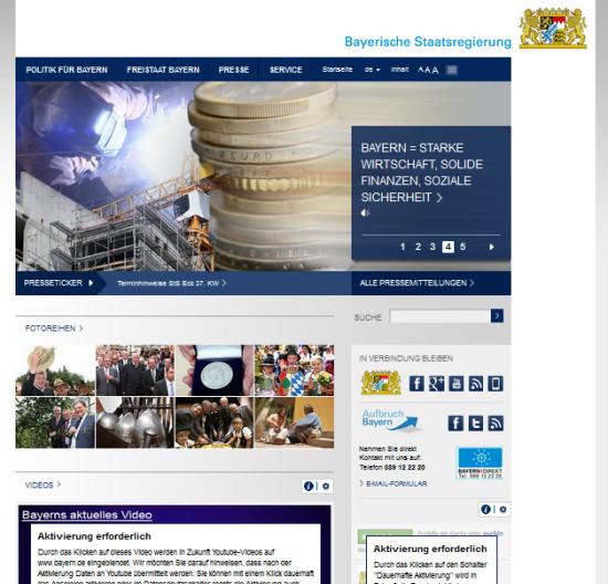 Startseite von bayern.de
