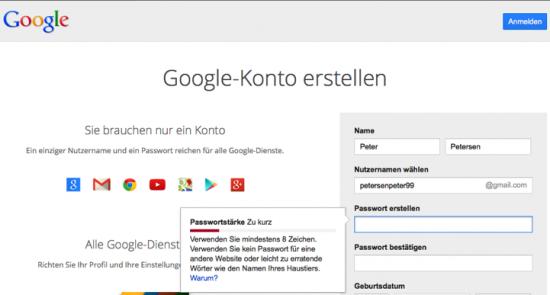Screenshot Google Anmeldung Konto