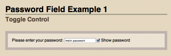 Screenshot nutzerfreundliche Passworteingabe