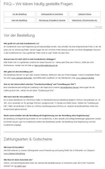 FAQ bei cyberport.de: Fragen und Antworten sind durch entsprechende Formatierung gut lesbar und können einfach und schnell gescannt werden.