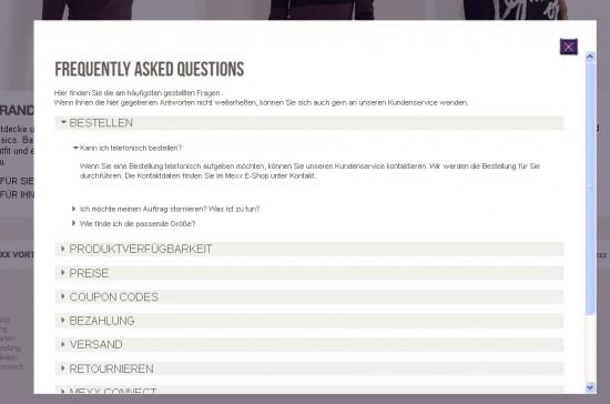 FAQ bei mexx.de: FAQ öffnen sich in einem Layer; die Seite dahinter bleibt sichtbar.