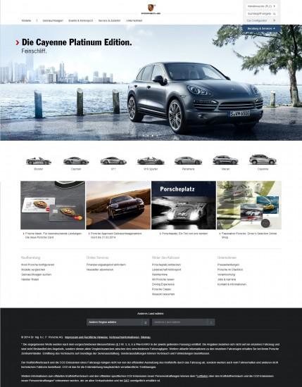 Die Startseite von Porsche nach dem Relaunch