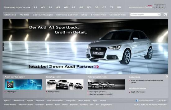 Die Startseite von Audi vor dem Relaunch