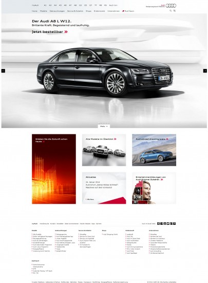 Die Startseite von Audi nach dem Relaunch