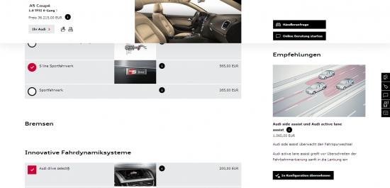 Abb. 4: Eine Detailseite zum Audi A5 mit innovativ integriertem Konfigurator
