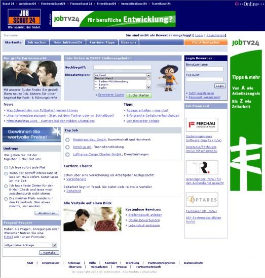Abb. 1: jobscout24.de im Jahre 2006