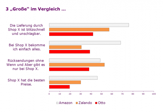 Ansichten zu Amazon, Otto, Zalando – viel Zustimmung zu zentralen Erfolgsfaktoren unter 600 Online-Shoppern repräsentativ für Deutschland (2013)
