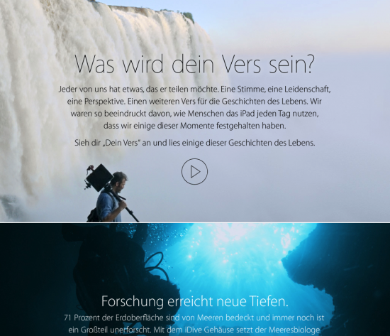 Screenshot Apple Website Storytelling