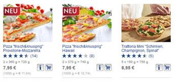 Abb. 3: bofrost.de markiert die Neuheiten sehr prominent und platziert diese am Anfang der Produktliste