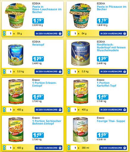 Abb. 1: edeka24.de überzeugt mit einer sehr strukturierten Produktseite, auf der alle für den Nutzer sofort erkennbar ist, welche Produkte angeboten werden.