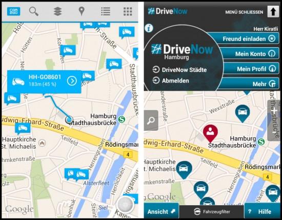App-Startseite von Car2Go und DriveNow