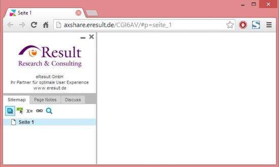 Abb. 1: Logo und Caption werden oberhalb der Sitemap im Prototypen angezeigt