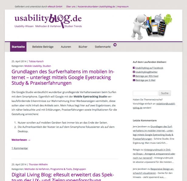 Screenshot Usabilityblog.de ab 2014