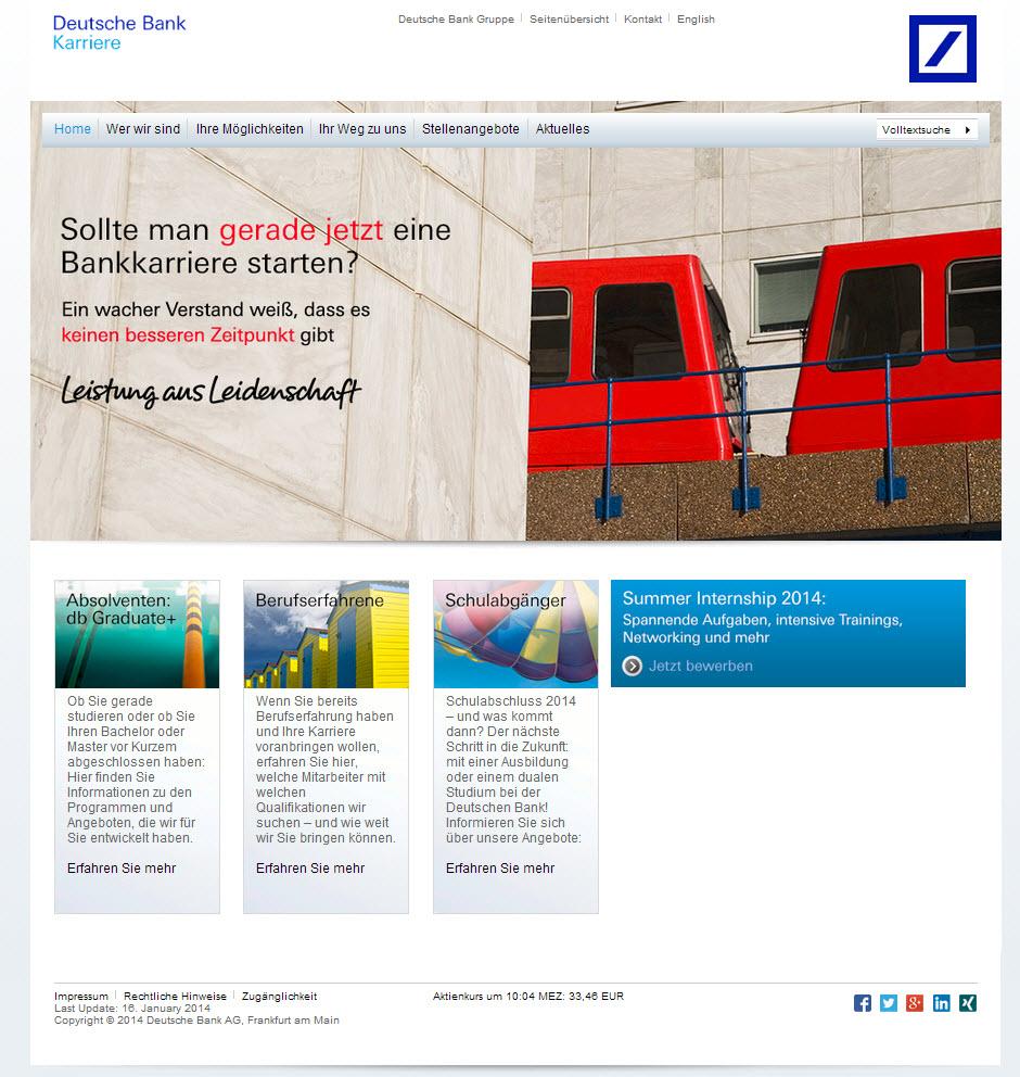 karriereportal der deutschen bank - Deutsche Bank Bewerbung