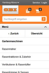 Abb. 3: Im Drilldown-Menü auf obi.de verwenden die Nutzer Browser-Back