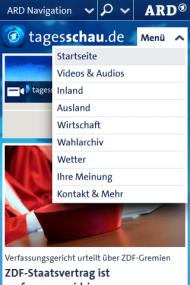 """Abb. 4: Auf tagesschau.de sorgt die """"ARD Navigation"""" für Verwirrung bei den Nutzern"""