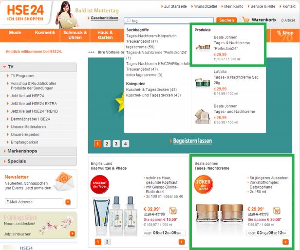 Cleveres Merchandising. Mit Thumbnails und farblichen Preisangaben hebt HSE24 ausgewählte Produkte an oberster Stelle im Suggest-Menü hervor