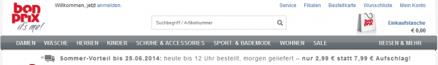 Abb. 4.1: Startseite bonprix.de (Juni 2014)