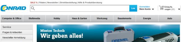 Abb. 5.1: Startseite conrad.de (Juni 2014)