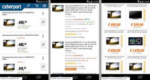 Suchbild mit Samsung TV: Wo ist der 46 Zöller? (Cyberport, Amazon, notebooksbilliger.de)