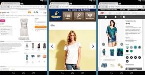 Shoppen auf kleinen Tablets (Nexus 7): Desktop ohne Anpassung bei Zalando, Smartphone-Auftritt bei Tchibo, für Tablets optimiert bei H&M