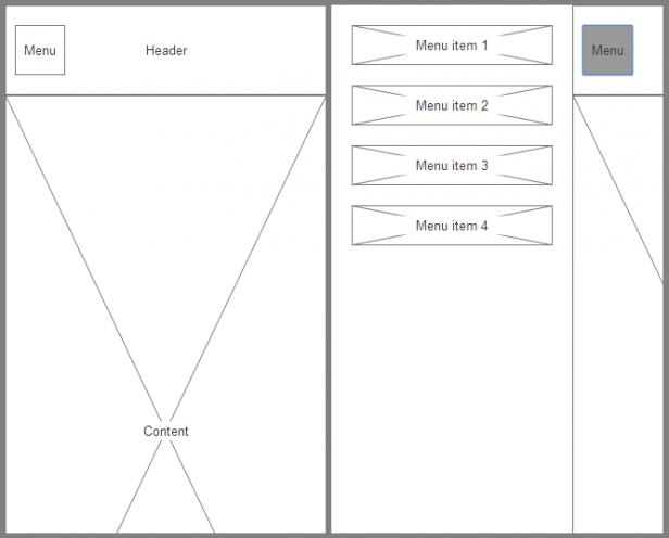 Abb. 1: Der Beispiel-Prototyp mit geschlossenem (links) und geöffnetem Off-Canvas-Menü (rechts)