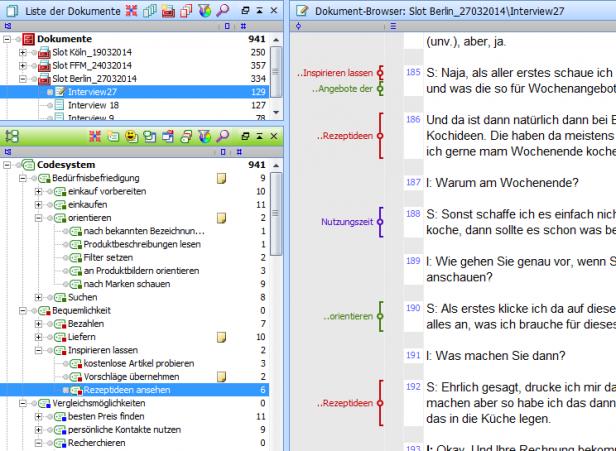 Abb. 1: Einblick in das Projekt in der Software MAXQDA