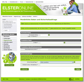 Screenshot Elster Online