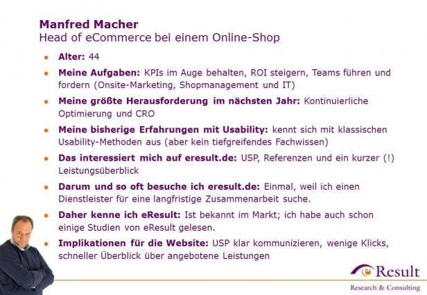 Abb. 3: Ein Auszug der eResult-Persona Manfred Macher für das User-Centered Design von eresult.de