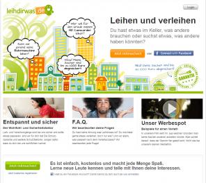 Abbildung 1: Startseite von leihdirwas.de