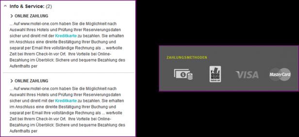 Abb. 2: Negativ und Positiv-Beispiel für die Darstellung von Zahlungsmodalitäten