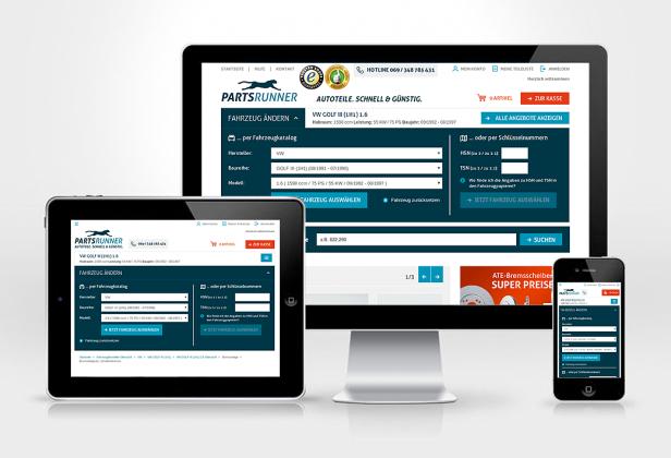 Abb. 1: Die E-Commerce-Plattform www.partsrunner.de (online ab Ende Nov 2014) aus Basis von Magento Enterprise Edition 1.14 ist dank Responsive Design für alle Endgeräte mobiloptimiert.