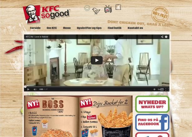 Abb. 6: Startseite von KFC in Dänemark