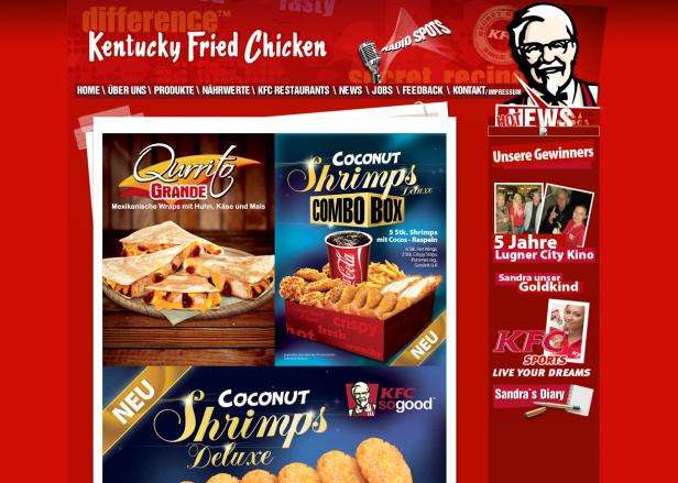 Abb. 5: Startseite von KFC in Österreich